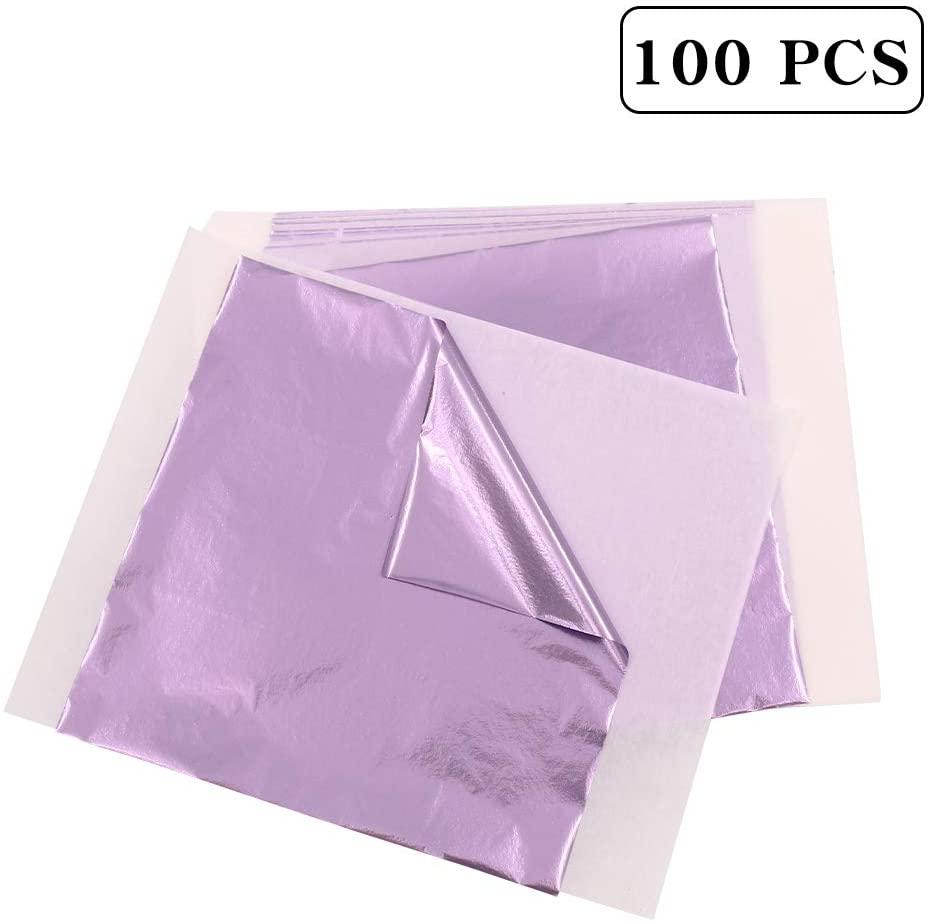 KINNO Gilding Gold Leaf Sheets,Light Purple Decoration Sheets 5.1