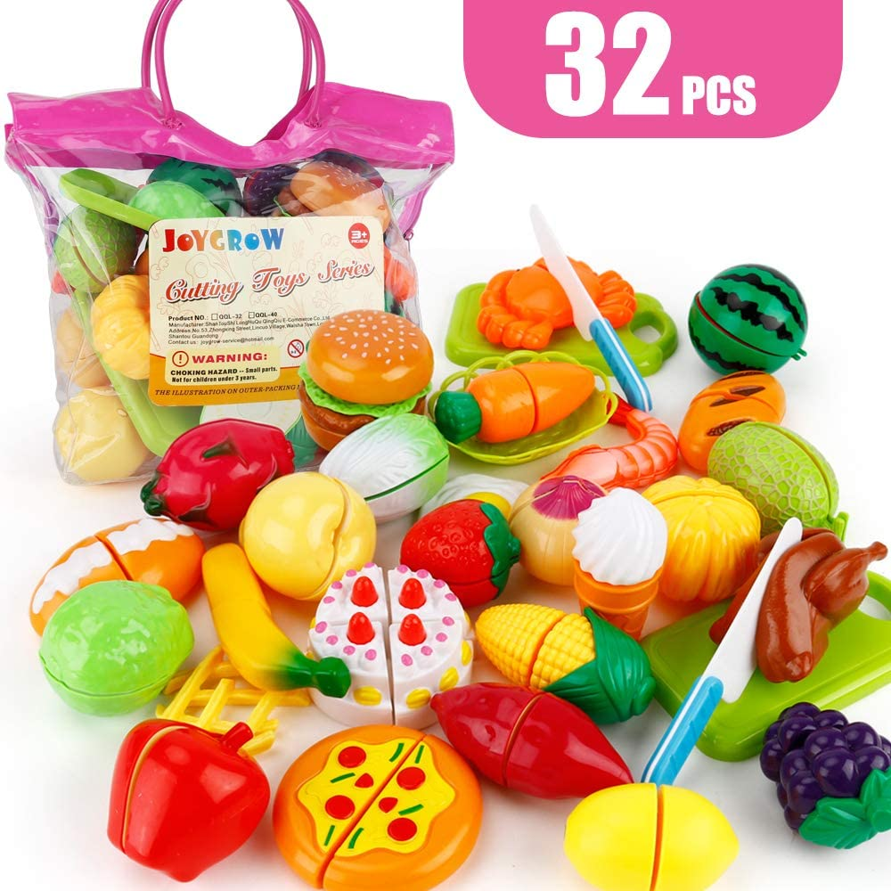 JoyGrow 32PCS Cutting Toys Pretend Food Fruits Vegetable Playset Educational Learning Toy Kitchen Play Boy Girl Kid with Handbag Packing