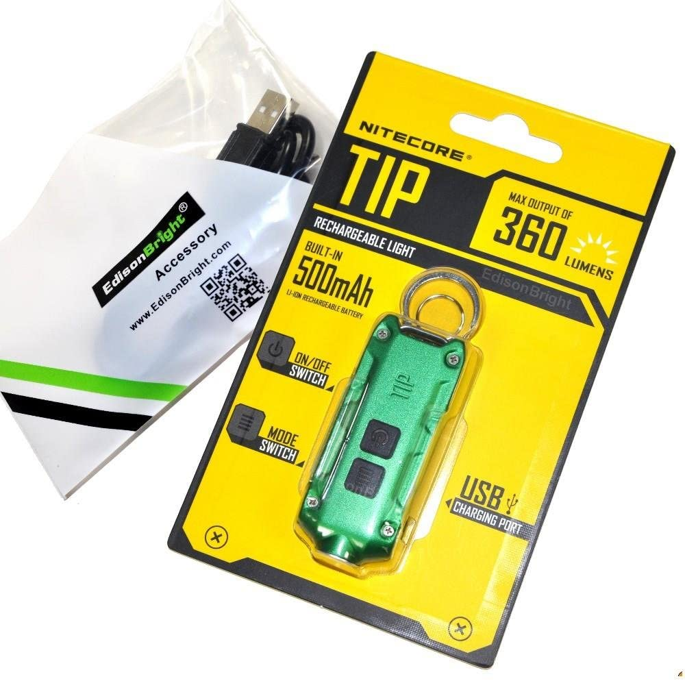 Nitecore TIP 360 lumen USB rechargeable keychain flashlight green color body with EdisonBright brand USB charging cable