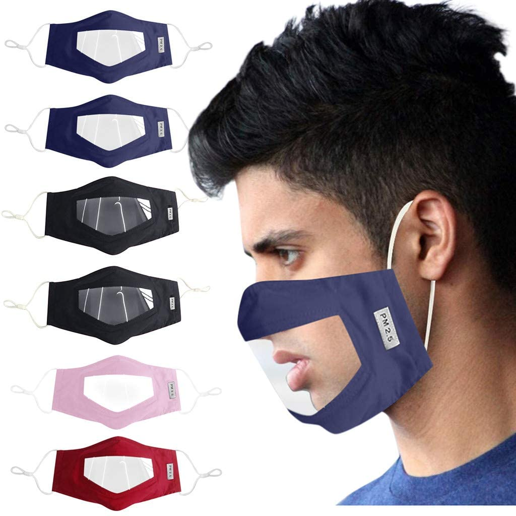 Weginte 6PCS Adult Washable Reusable Face Bandanas Breathable Mouth Outdoor Activities with Clear Window Visible