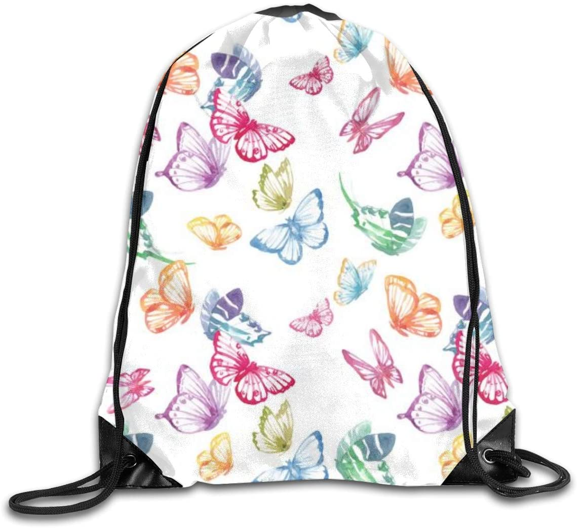 Colorful Butterfly Art White Drawstring Sports Backpack Gym Yoga Sackpack String Bag Travel Storage Sack For Women And Men Suitable For School Swim Running Beach Outdoor