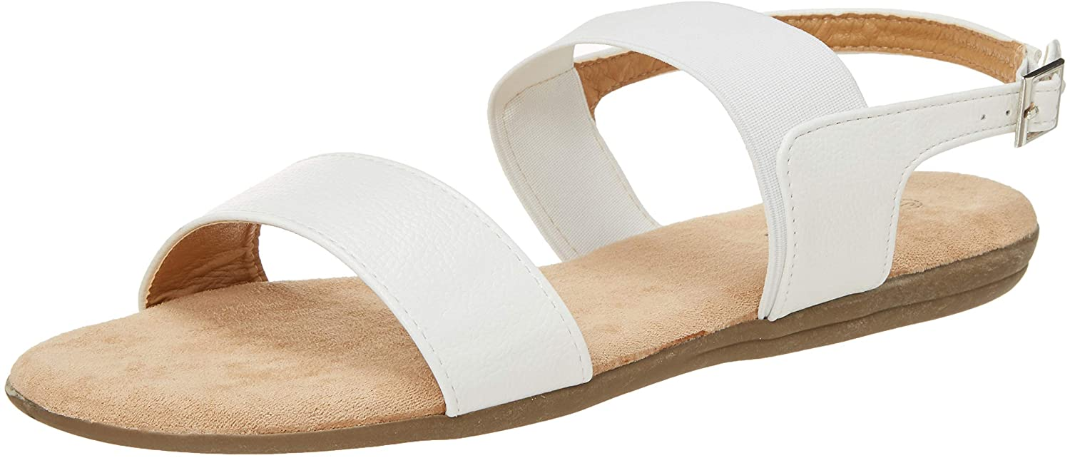 Floopi Summer Sandals for Women   Cute, Open Toe Sandals  Comfy, Wide Elastic & Faux Leather Ankle Straps W/Buckle Design, Flat Sole, Memory Foam Insole