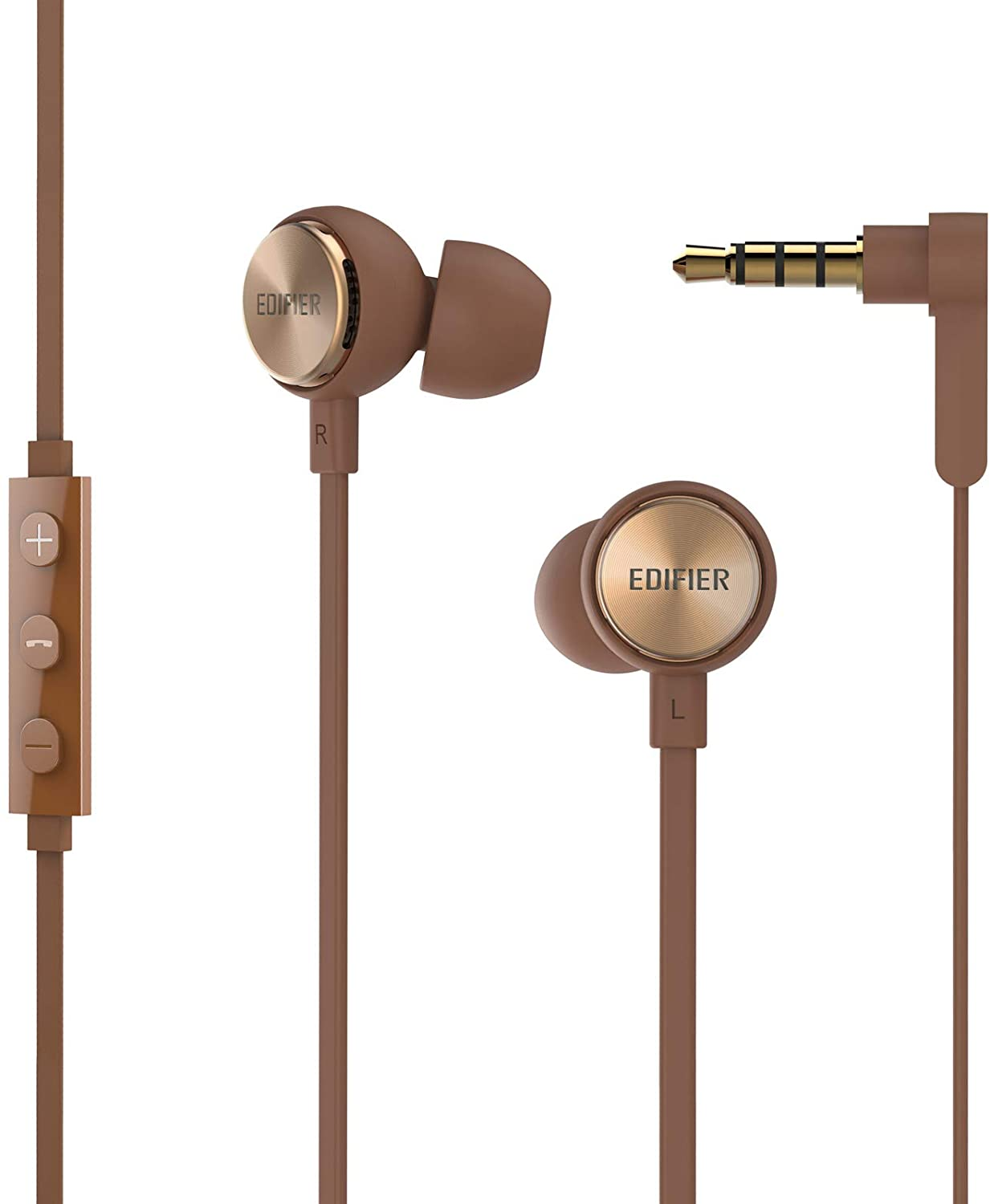 Edifier P293 Plus Computer Headset in-Ear Earphones Inline Volume Playback Controls Flat L Shaped Cable Comfortable Eartips - Brown