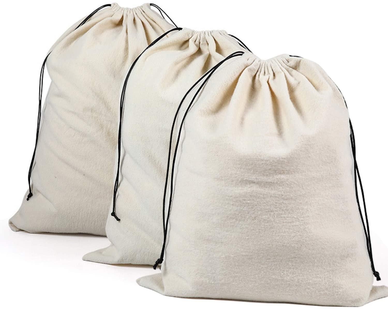 MOT Global Cotton Drawstring Dust Cover Pouch Bag for Handbags Purses Shoes Boots Storage (White, 3 Medium)