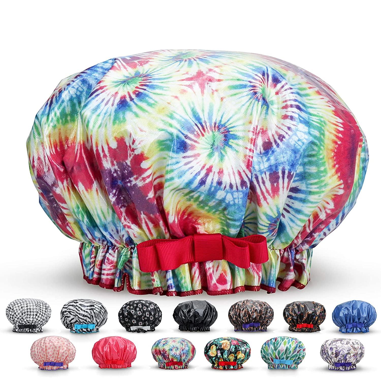 Waterproof Reusable Women Shower Caps 100% Cotton Print Bath Caps Hat Long Hair Perfect for Women