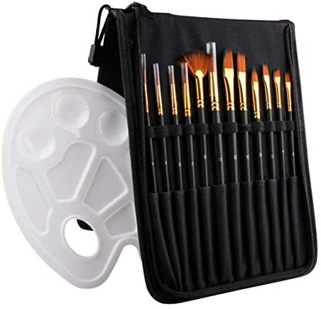Pili-Paradise 12pcs Acrylic Paint Brushes with Pallette & Zipper Brushes case Perfect for Acrylic, Watercolor, Oil and Gouache Artist