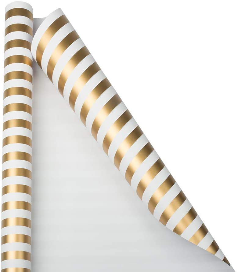 JAM PAPER Gift Wrap - Striped Wrapping Paper - 25 Sq Ft - Gold & White Stripes - Roll Sold Individually