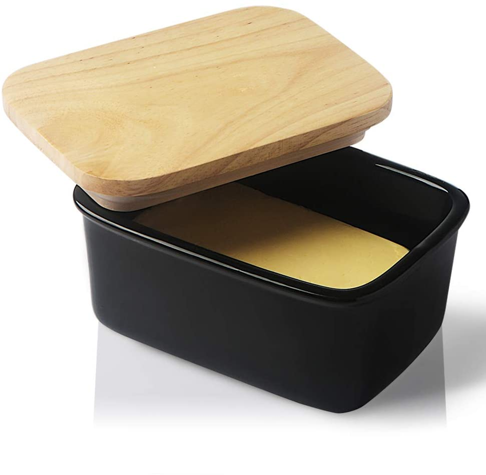 SWEEJAR Porcelain Butter Dish with Lid, Airtight Large Butter Keeper with Wooden Lid, Butter Container Perfect for 2 Sticks of Butter West or East Coast Butter(Black)