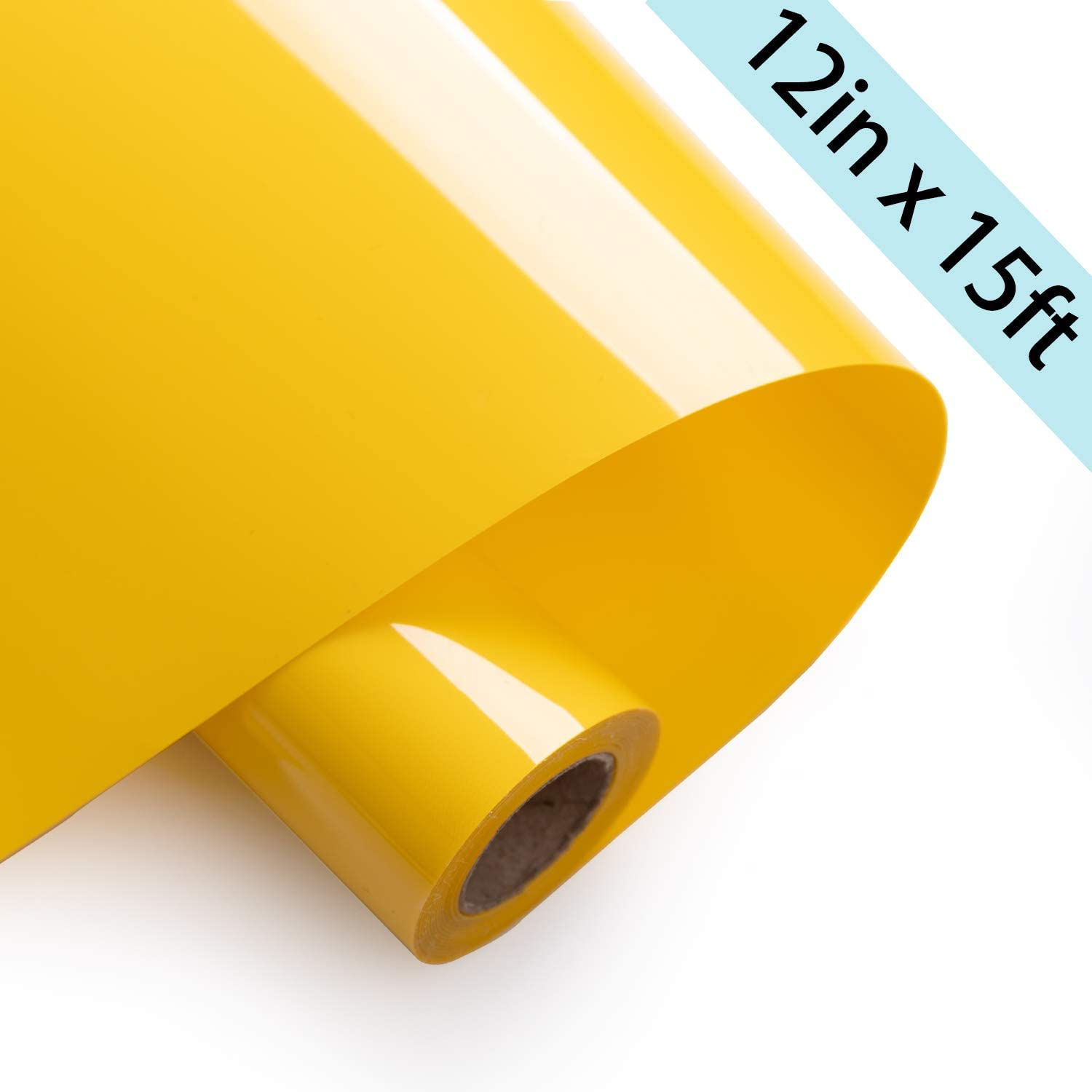 LaFancy Heat Transfer Vinyl Rolls 12inch x 15feet, HTV Iron on Vinyl for Silhouette Cameo, Heat Transfer Vinyl for T-Shirts(Yellow)