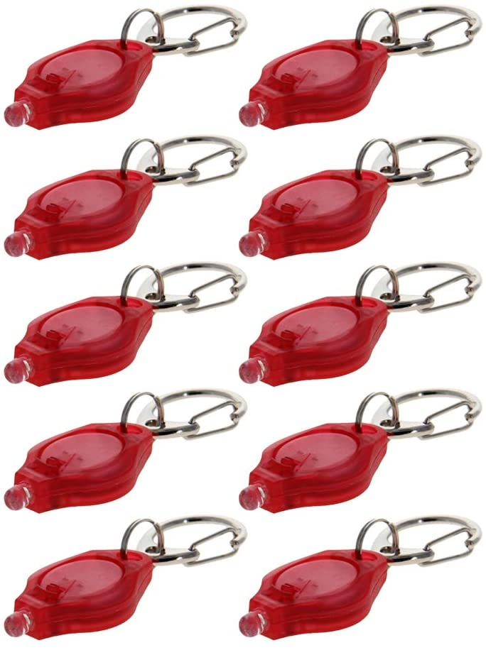 Othmro Plastic LED Keychain Light Red White Light with C Buckle Red Flashlight Type of Battery Cr2016 (WITHOUT BATTERY)10pcs