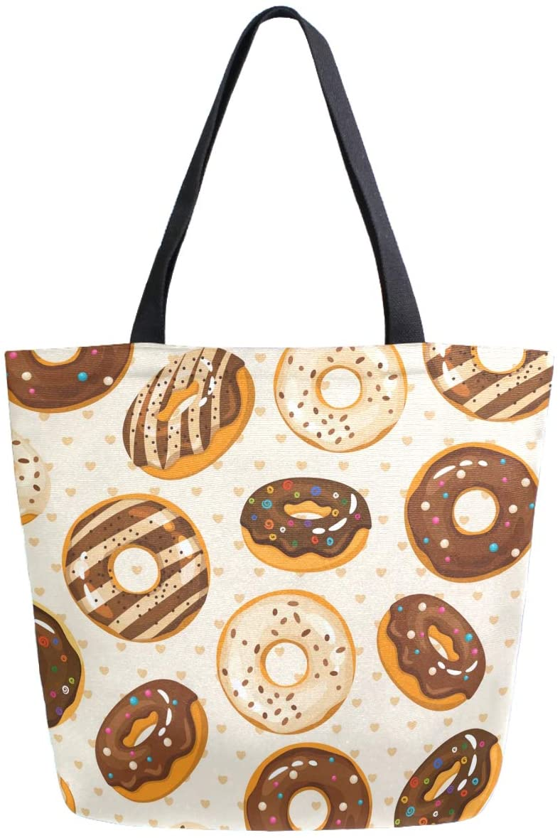 ZzWwR Glazed Chocolate Donuts Large Canvas Shoulder Tote Top Handle Bag for Gym Beach Travel Shopping