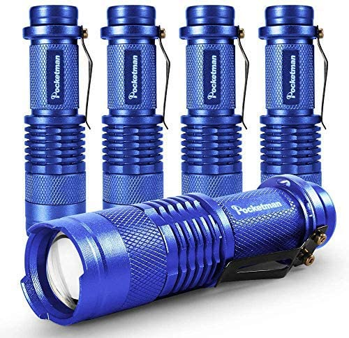 5 Pack LED Mini Flashlights 7W 300LM SK-68 3 Modes Adjustable Focus Zoomable Q5 LED Tactical Flashlight for Camping Hiking Emergency (Blue)