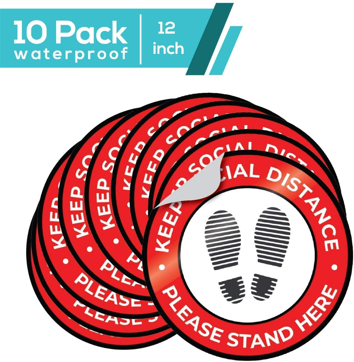 Social Distance Floor Stickers – 12 Inch Floor Stickers - Social Distancing Sign – Social Distancing Floor Stickers – Easy DIY Application – Anti-Slip Surface – Ideal for Public Spaces, Buildings