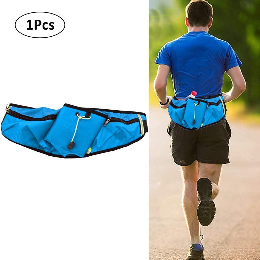 WENTS Sports Belt Bag Running Belt with Water Bottle Holder Waterproof Bum Bag Cycling Waist Bag Jogging Belt Dog Walking Bag for Travel Holidays Camping Climbing Hiking (Blue)