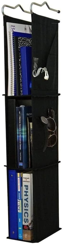 Del Design   Hanging Locker Ladder Organizer For School, Work, Gym Storage  3 Shelves  9x5.5x38 Inches (Black)