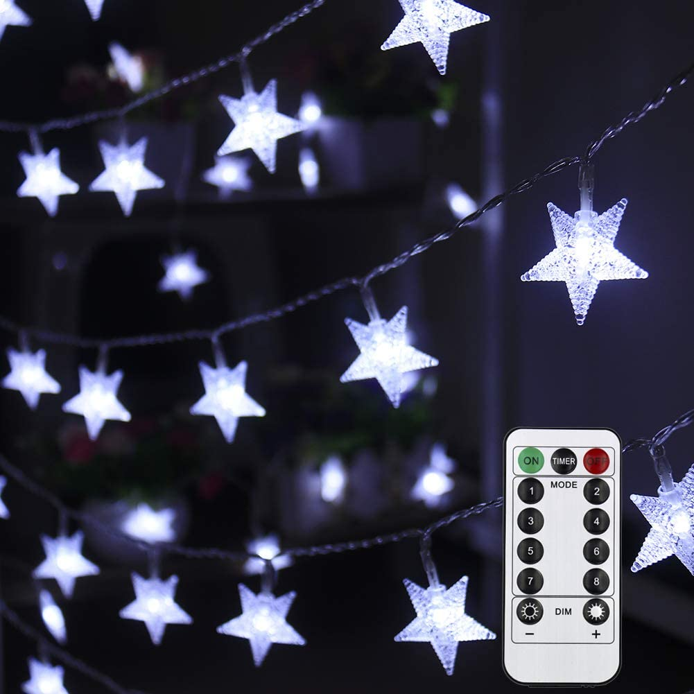 Mankinlu White Star String Lights Battery Operated 50 LED 25 ft Waterproof Star Fairy Light String 8 Modes Christmas Tree Lights with Remote Control for Outdoor Camping Tent Balcony Girl Bedroom Décor