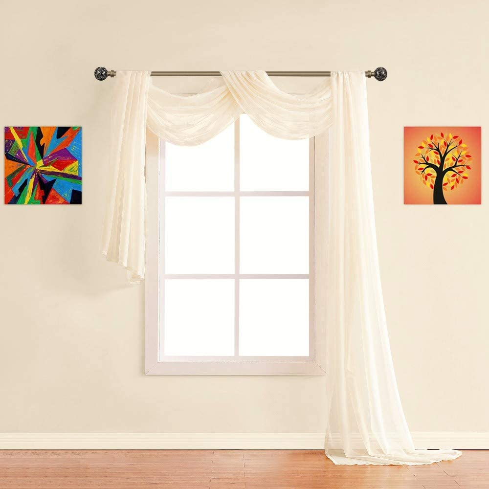 Warm Home Designs 24 Feet Long Peach Cream Sheer Window Scarf. These XXL Length Valance Scarves 56 X 288 Inches in Size. Works as Bed Canopy or for Any Decorative Project. AM Cream 288