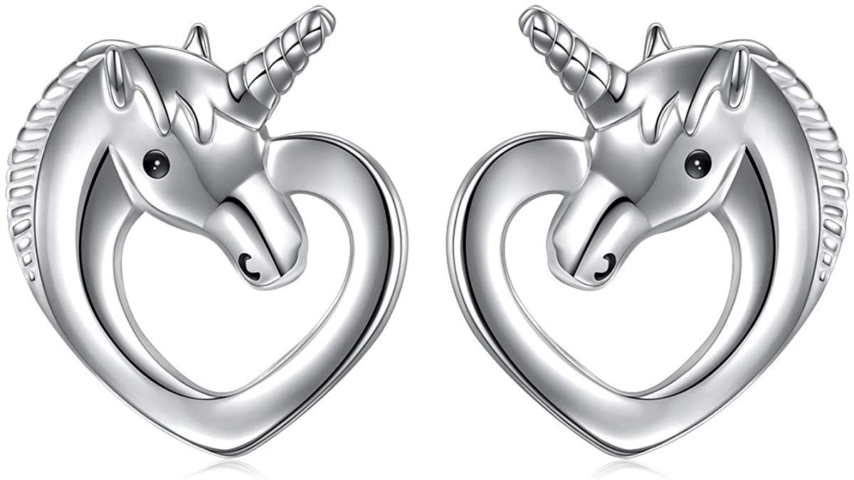 S925 Sterling Silver Unicorn Earrings Cat Earrings Elephant Earrings Panda Earrings Penguin Earrings Forever Love Animal Stud Earrings Gift for Her, Women, Daughter