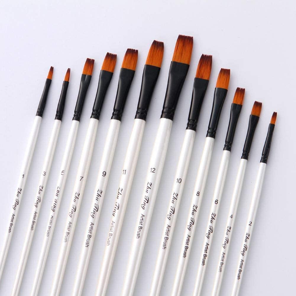 TENSKY Flat Head Paintbrush Set Nylon Hair Paint Brush Set for Acrylic Oil Watercolor Painting Artist Professional Painting Kits(12pcs Pearl White Flat Head Brush Set)