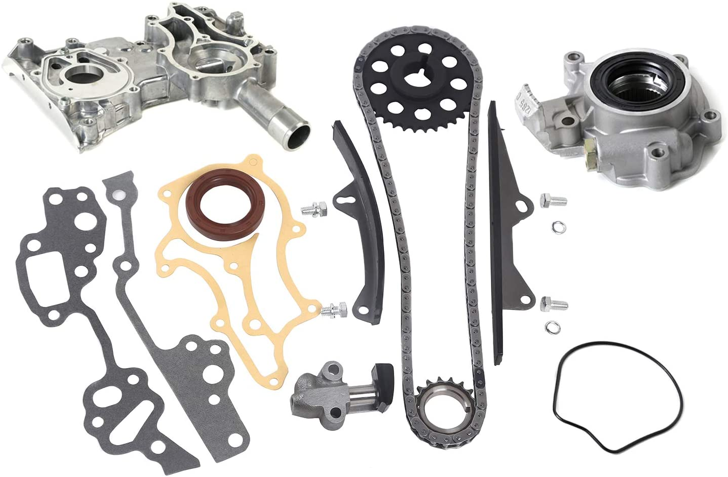 MOCA Timing Chain Kit Oil Pump with Cover for 1985-1995 for TOYOTA Celica Pickup 4Runner 2.4L L4 8V SOHC R 22R 22RE 22REC