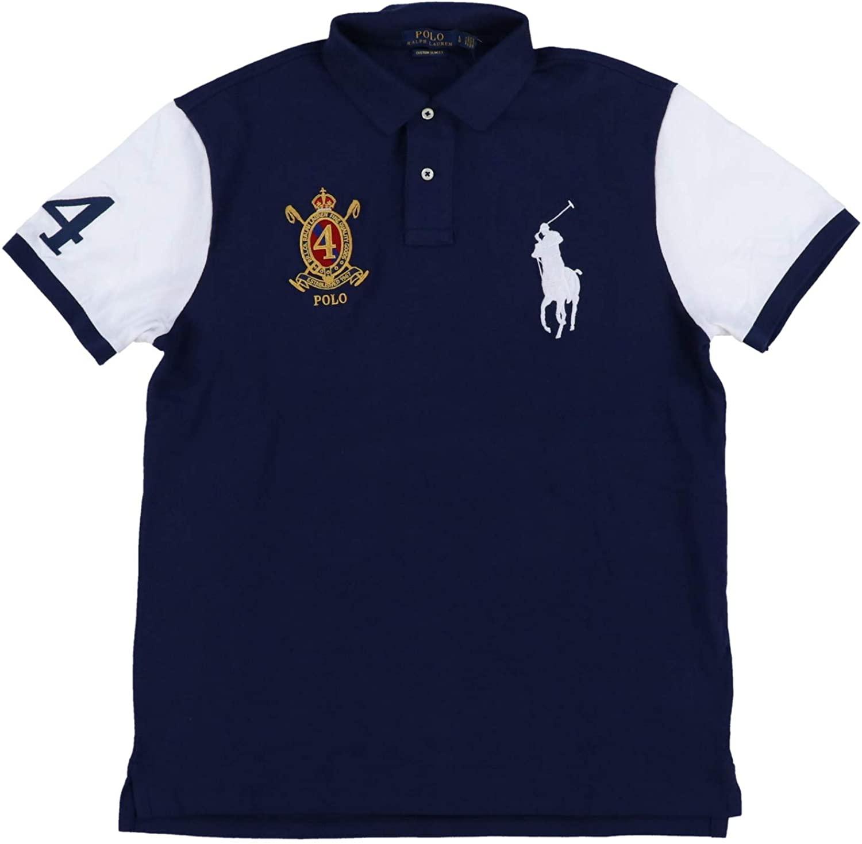 Polo Ralph Lauren Mens Big Pony Custom Slim Fit Crest Polo Shirt