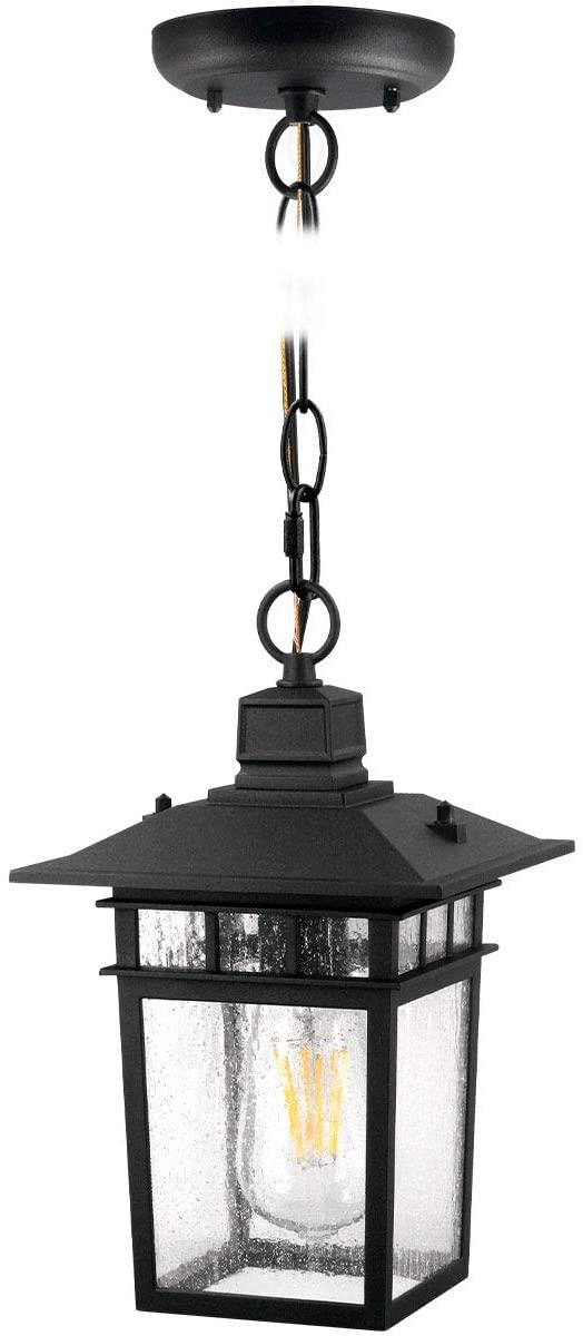One Light Outdoor LED Hanging Lantern ,Hanging Lights for Porch, (100-150W Equivalent), 1100 Lumen, Aluminum Housing Plus Glass,Exterior Pendantt, (ST64 8W),Black for 1Pack 8244S
