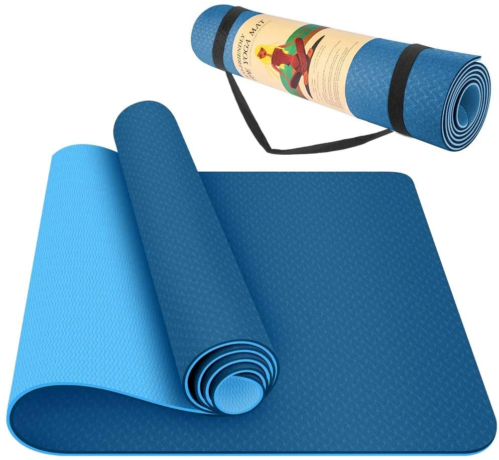 StillCool Yoga Mat - Classic 1/4 inch Pro Yoga Mat Eco Friendly Non Slip Fitness Exercise Mat with Carrying Bag - Workout Mat for Yoga, Pilates and Floor Exercises (Blue TPE, 1/4 inch)