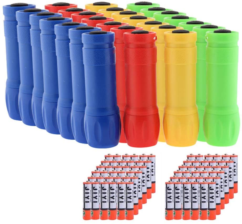 Whaply Small Mini Flashlights Pack of 28,Assorted Colors,100 Lumen,With Battery