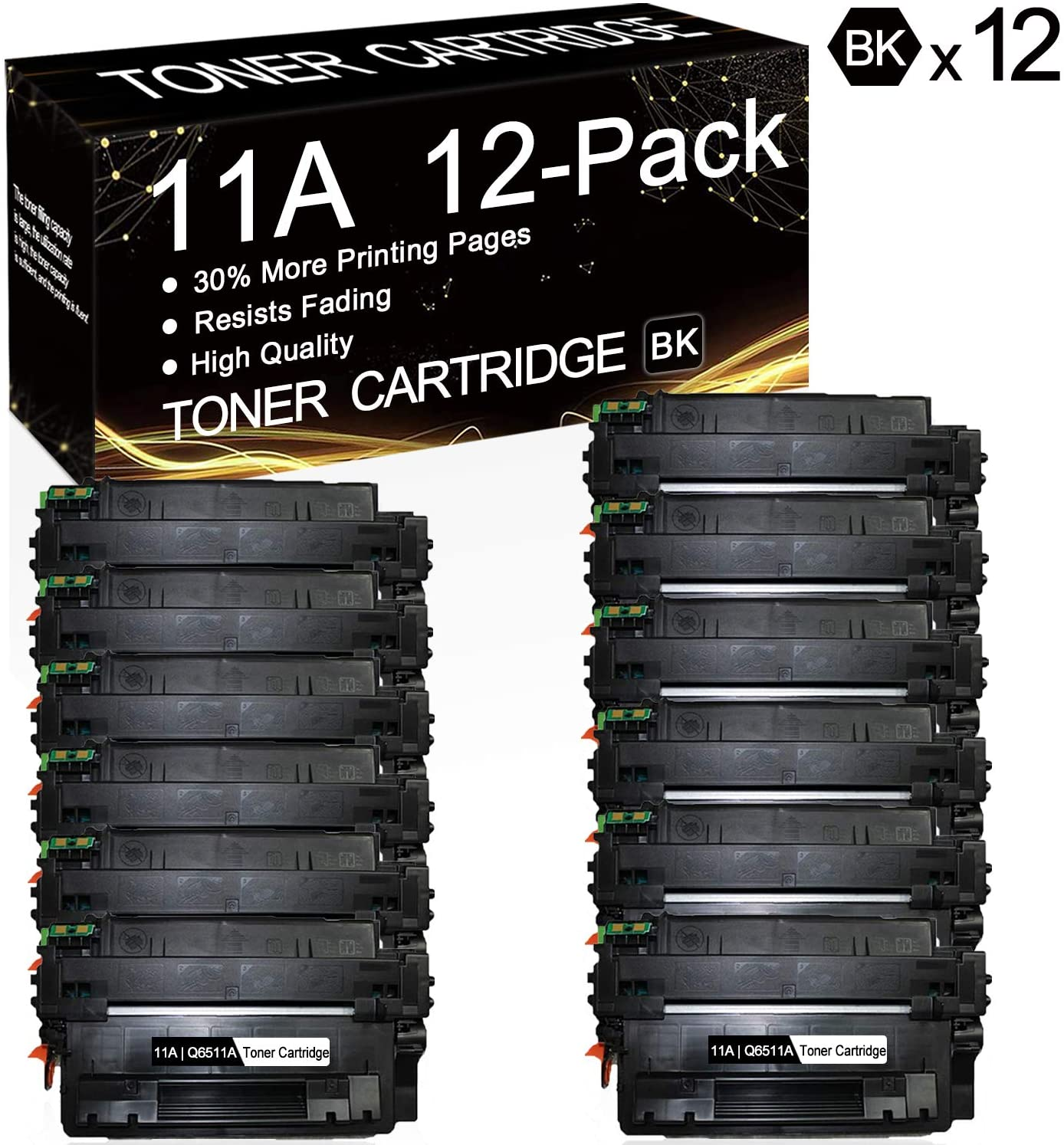 11A | Q6511A (12-Pack, Black) Compatible 11A | Q6511A Toner Cartridge Replacement for HP Laserjet 2430 2430tn 2430dtn 2430n 2410 2420 2420d 2420n 2420dn Printers, Sold by SinaToner.