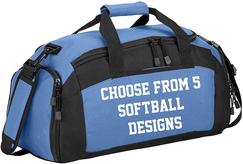 Personalized Softball Gym Duffel Bag with Custom Text | Baseball Sports Bag Designed with Customizable Embroidered Monogram (Design #2/Carolina Blue)