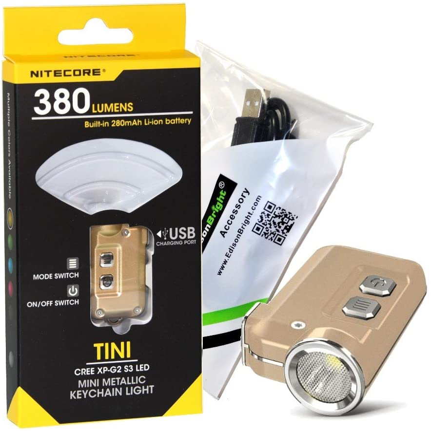 Nitecore TINI 380 lumen USB rechargeable LED keychain light with EdisonBright brand USB charging cable (Gold)