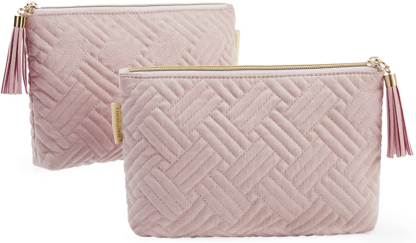 BAGSMART Cosmetic Bag 2 Pcs Small Makeup Bag for Purse Travel Cosmetic Pouch for Makeup Brushes Lipsticks Electonic Accessories, Pink+Pink