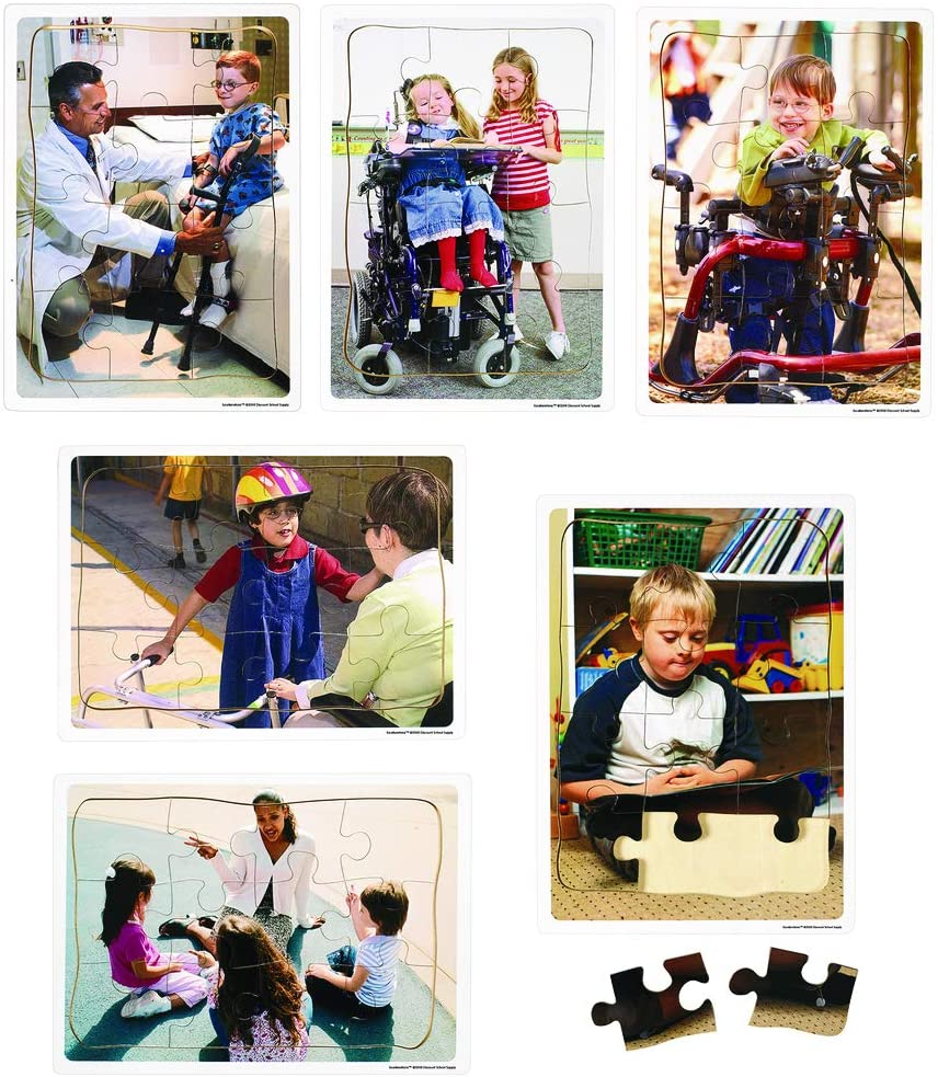 ExcellerationsInclusion Puzzles - Set of 6, Social Emotional Wood Jigsaw Puzzles for Preschool Age Children (Item # INCPZS)