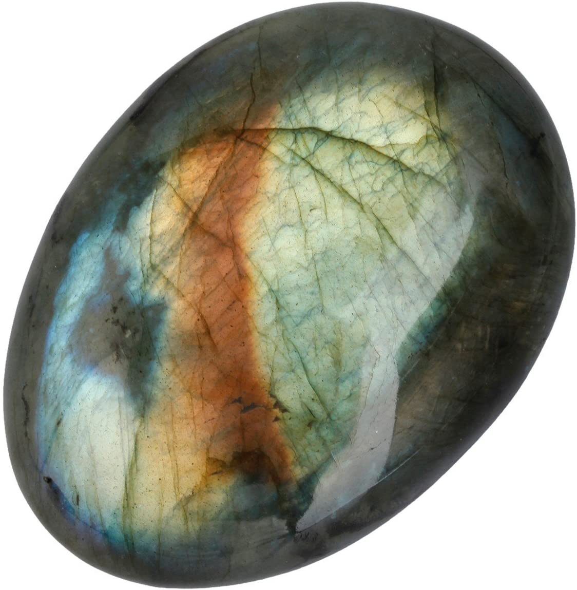 rockcloud Irregular Polished Labradorite Palm Stones Worry Stones Pebble Healing Crystal with Velvet Bag