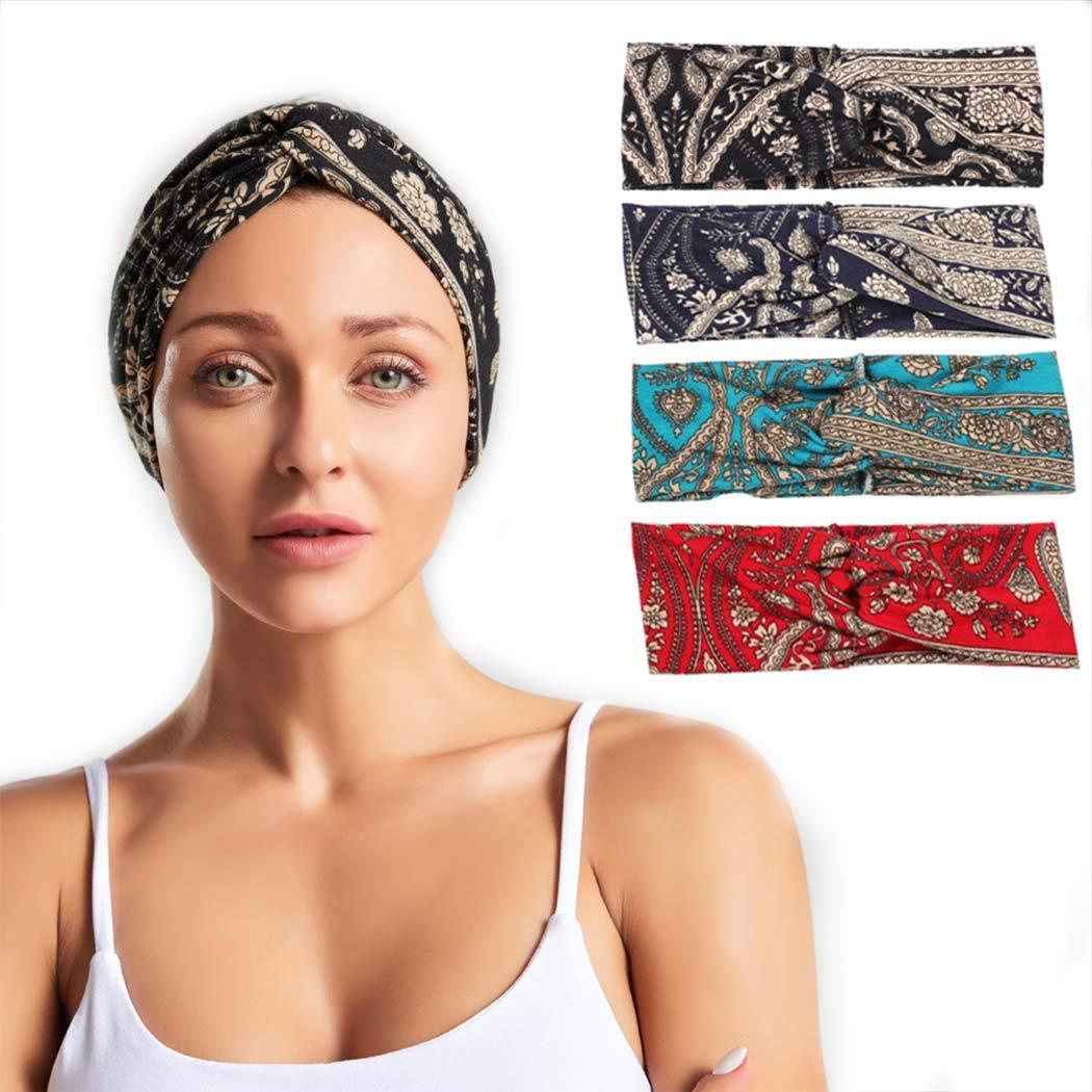 Vivilly Yoga Headbands Elastic Running Hairband Spotr SweatBand Headwrap Printing Wicking Headscarf Hair Accessories 4PCS Hair Band for Men and Women