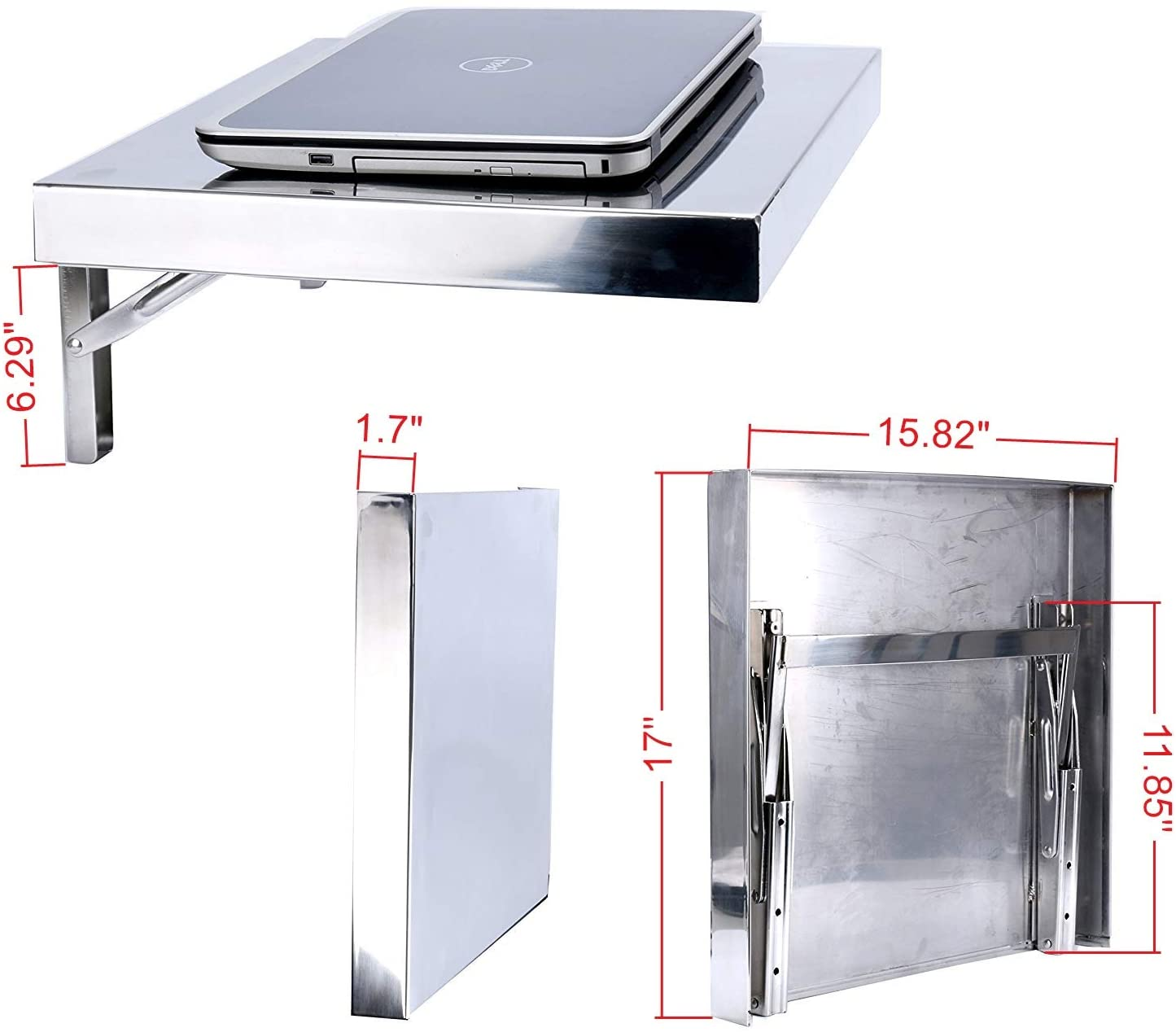 Amarine Made Workstation, Stainless, Wall-Mount Folding, Laptop,PC Desk