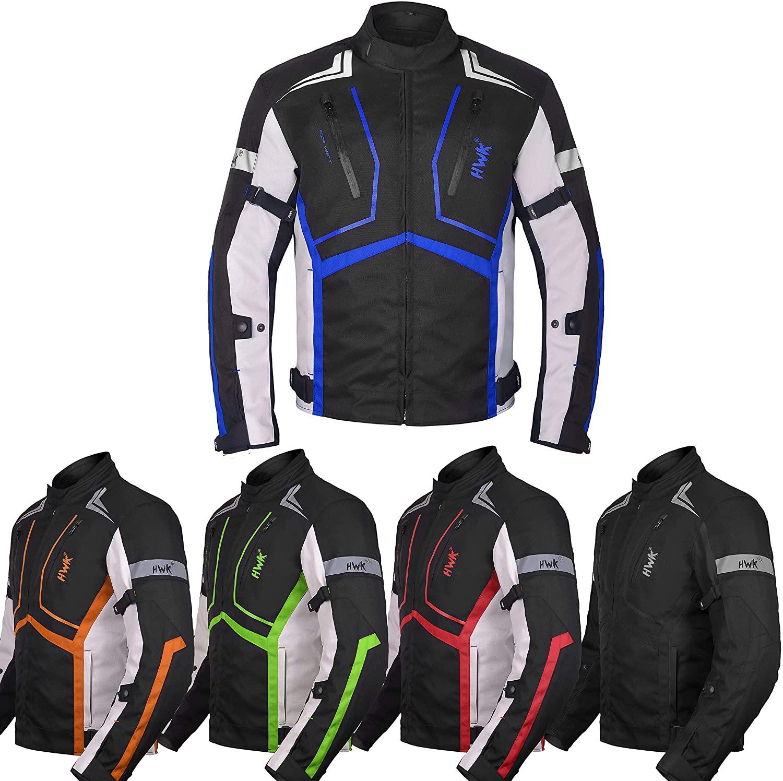 Motorcycle Jacket For Men Textile Motorbike Dualsport Enduro Motocross Racing Biker Riding CE Armored Waterproof All-Weather (Blue, 4XL)