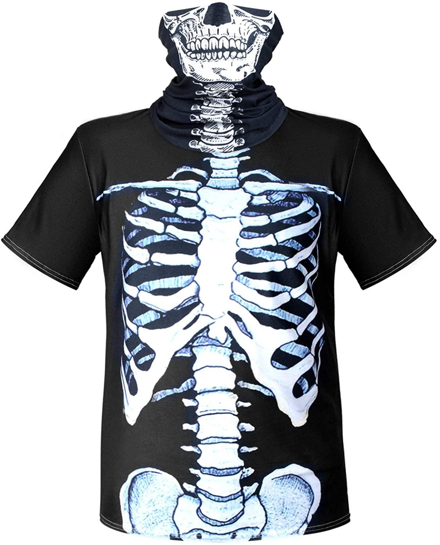 2 Pieces Skeleton Rib Cage Man T-Shirt Skull Face Bandana Neck Gaiter Halloween Costume Shirt for Man Black