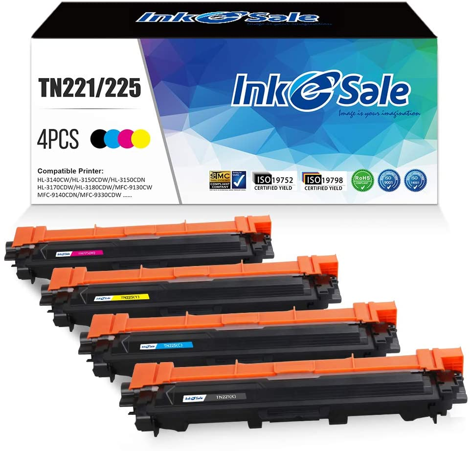 INK E-SALE Compatible Toner Cartridge Replacement for Brother TN221 TN225 TN-221 TN-225 (KCMY, 4-Pack), for use with Brother HL3170CDW HL-3170CDW, HL3140CW HL3180CDW, MFC9130CW MFC9330CDW MFC9340CDW