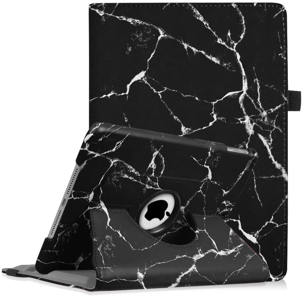 Fintie Case for iPad 9.7 2018 2017 / iPad Air 2 / iPad Air - 360 Degree Rotating Stand Protective Cover with Auto Sleep Wake for iPad 9.7 inch (6th Gen, 5th Gen) / iPad Air 2 / iPad Air, Marble Black