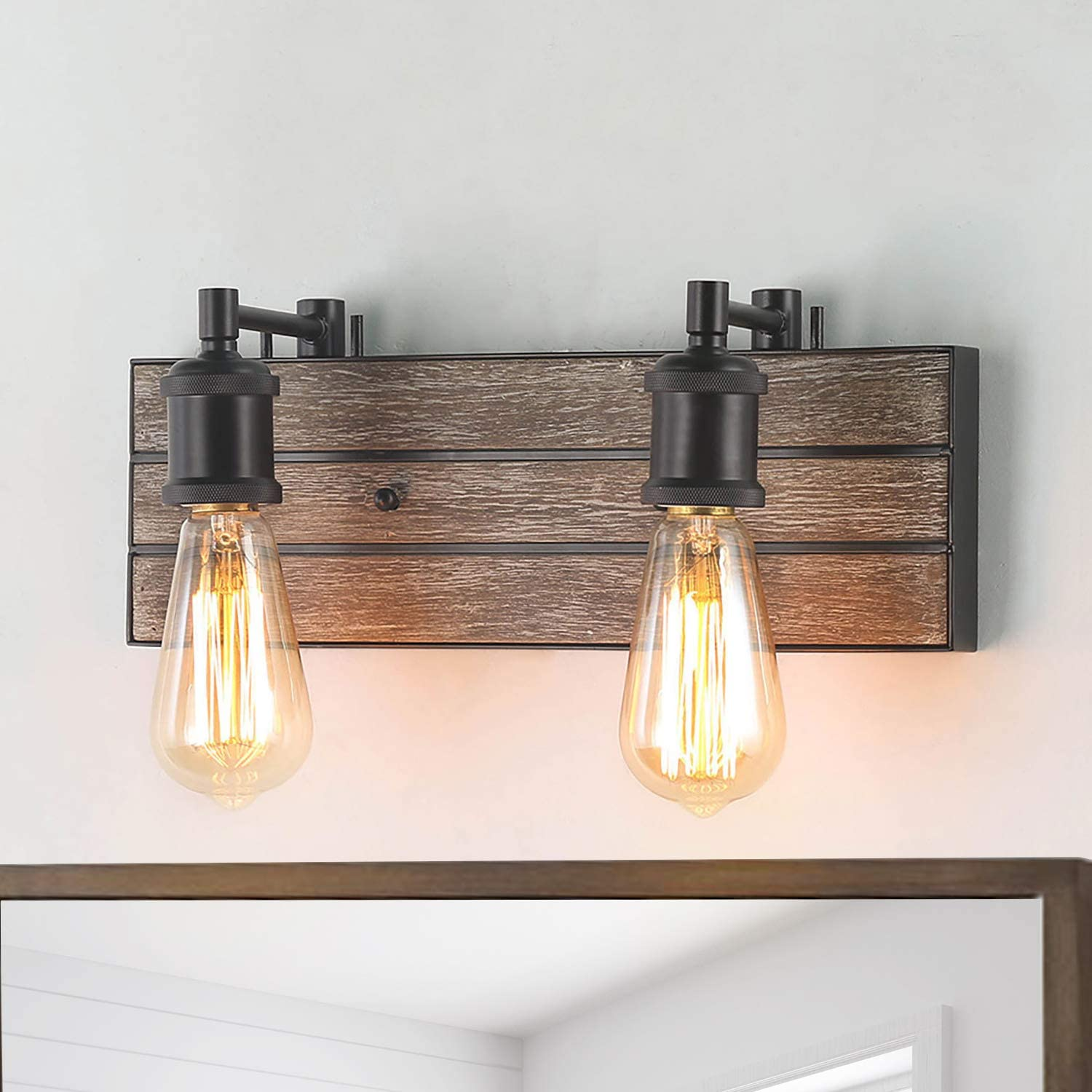 LOG BARN Vanity Lights, Wall Sconce in Rustic Wood and Oil Rubbed Metal Water Pipe Finish, Bathroom Fixture with Adjustable Sockets Over Mirrors