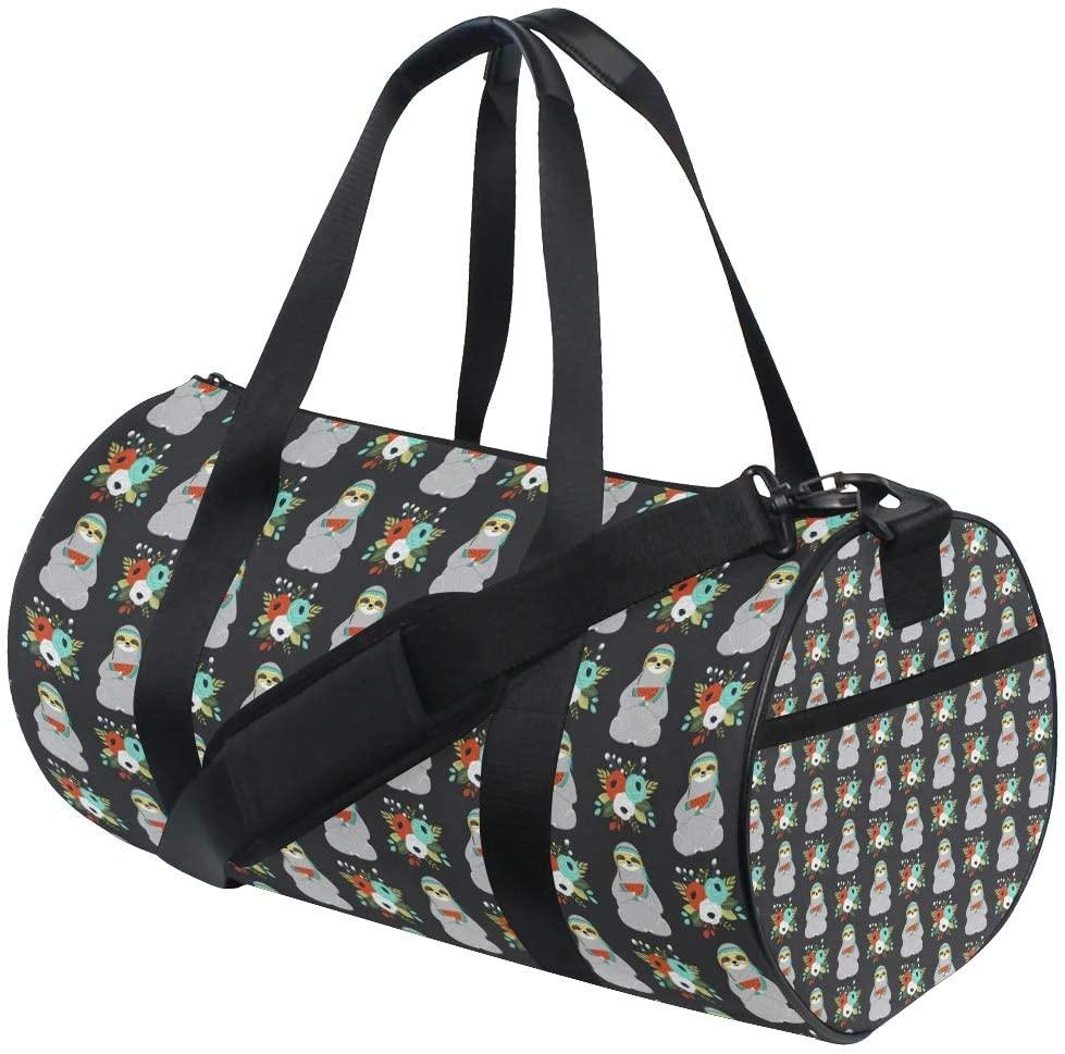 Duffel Cute Kangaroo Flower Fitness Gym Bags Canvas Sport Shoulder Bag for Men Women