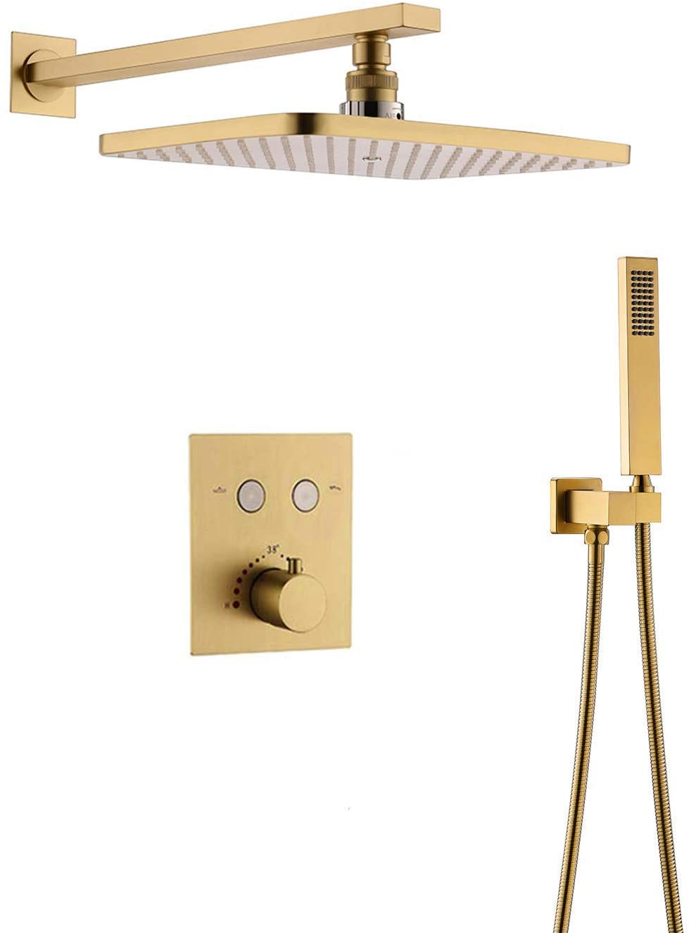 AYIVG Thermostatic Brass Rectangular 12 x 8 Inch Rainfall Shower System Set (Brushed Gold)