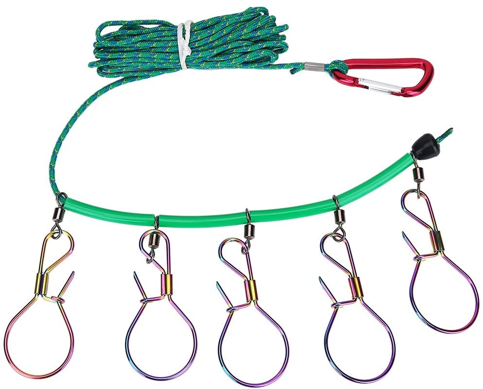 VGEBY 16ft Heavy Duty Fishing Stringer Fish Lock 5 Hook Snaps Stainless Steel Ropes
