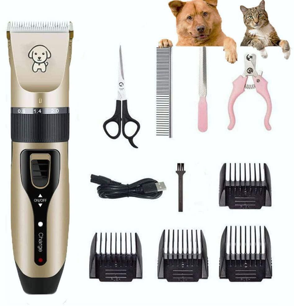 AERZETIX Professional Dog Grooming Clippers Kit, Rechargeable Dog Trimmer Pet Clippers Low Noise, Electric Dog Shaver Dog Hair Clipes for Small Large Dogs Cats
