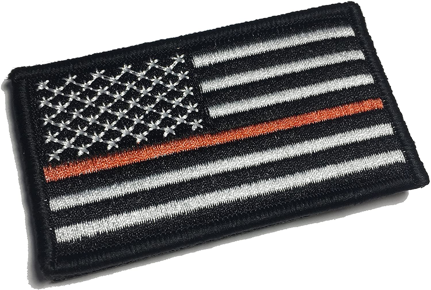 Empire Tactical USA Thin Orange line - Search and Rescue (SAR) and EMS Support United States Flag (Hook/Loop) Morale Patch