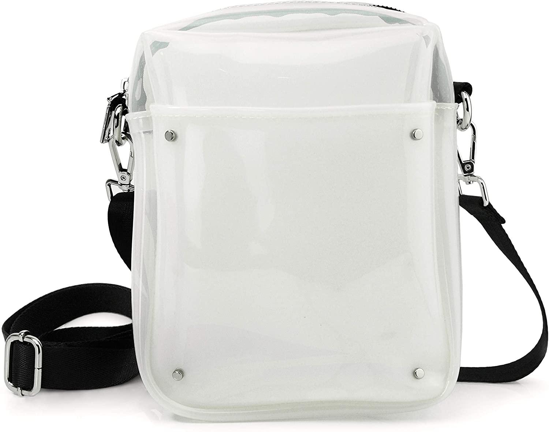 Clear PVC Zipper Pocket Cross Body Bag for Women and Men Messenger Shoulder Bag