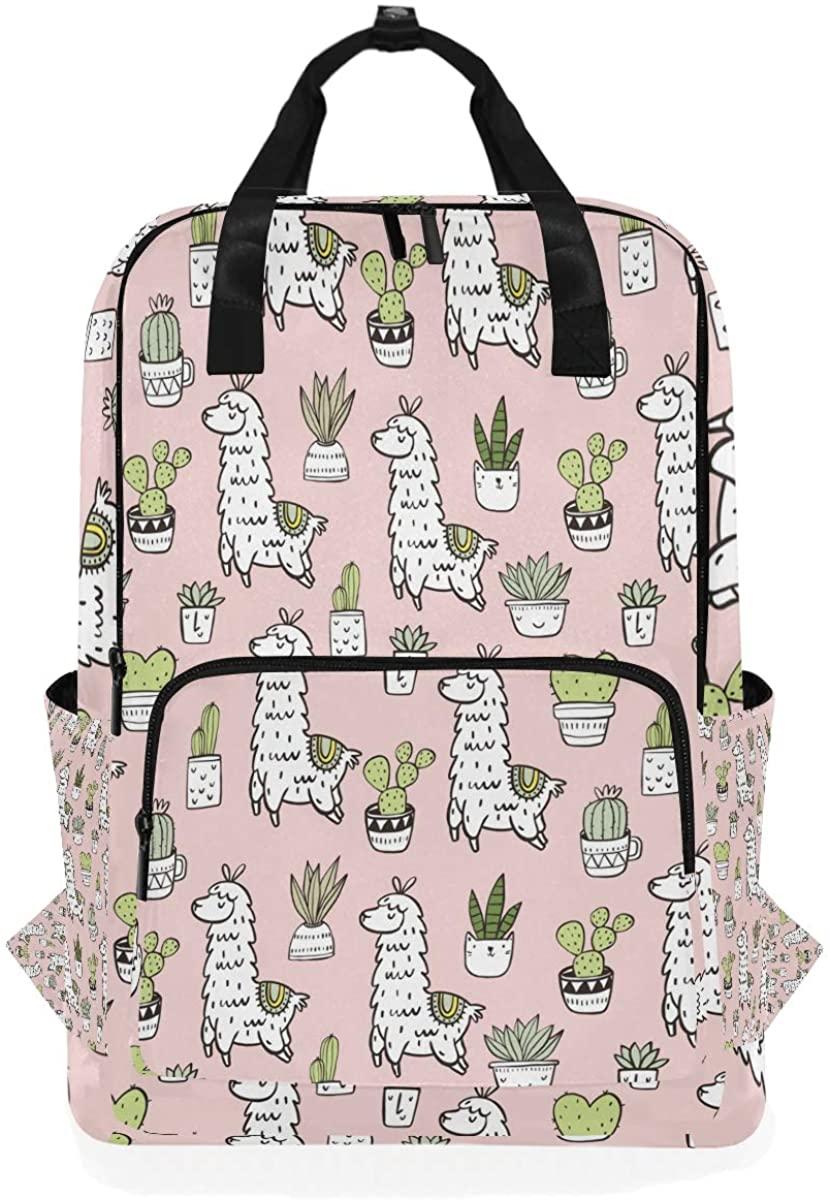 Cute Llama Alpaca Tropical Cactuses Cartoon Animal Flower Backpack School Travel Daypack Laptop College Bookbag 14 Inch Doctor Bag