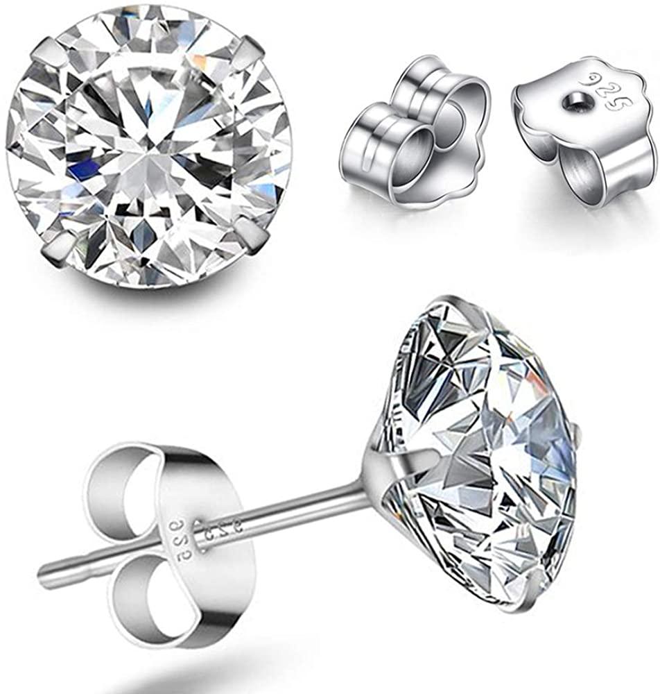 TTVOVO 925 Sterling Silver Stud Earrings Princess Cut Cubic Zirconia Sparkling CZ Diamond Earrings for Women Men Ear Studs Piercing Earrings Nickle-Free Hypoallergenic Jewelry Gifts 4MM-8MM Available