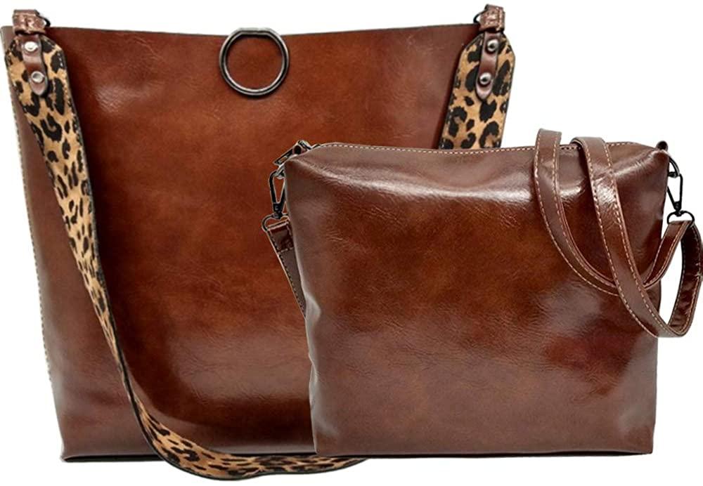 Women Leopard Print Bag Leather Tote Top Handle Big Shoulder Handbag Purse 2 Pcs